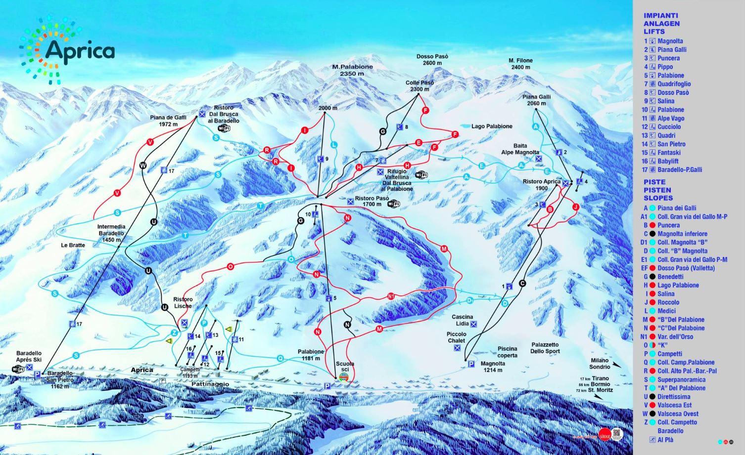 Aprica ski mapa