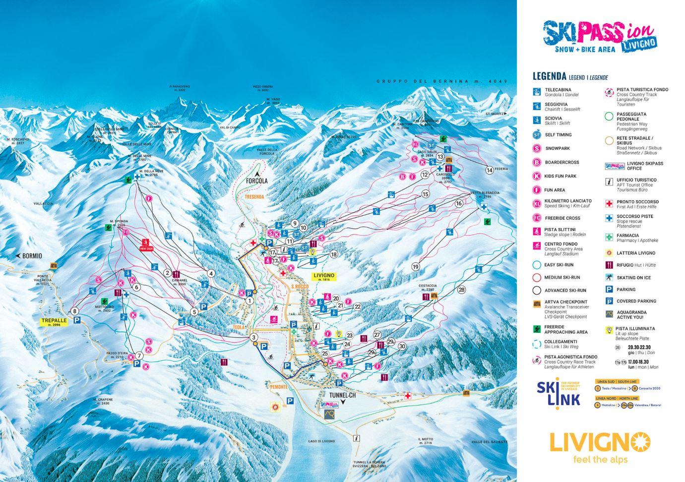 Livigno ski mapa